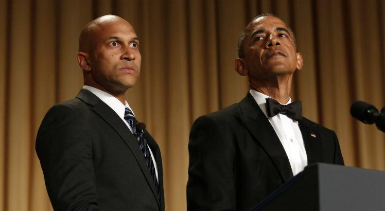 O ator Keegan-Michael Key em cena com Obama / Yuri Gripas/AFP/Getty Images